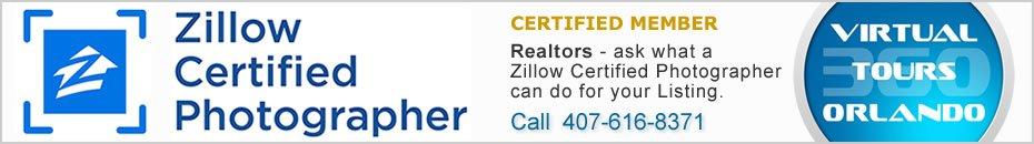 Zillow Certified Photographer, 360 virtual tour photography and real estate photographer in Orlando, Florida.